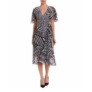 Eva Franco black white lace wrap dress sz 10